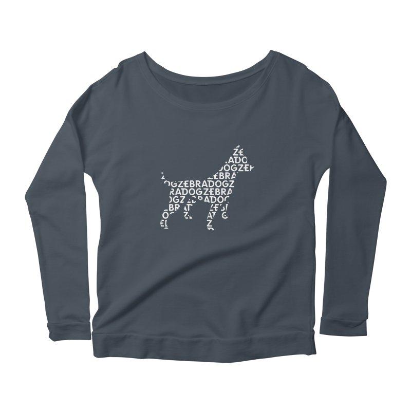 Alphabet Zoup White Women's Scoop Neck Longsleeve T-Shirt by Zebradog Apparel & Accessories