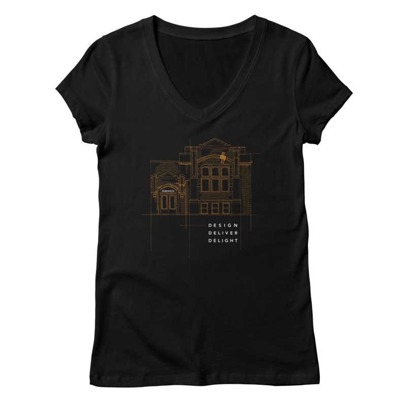 6th Ward Library Women's Regular V-Neck by Zebradog Apparel & Accessories