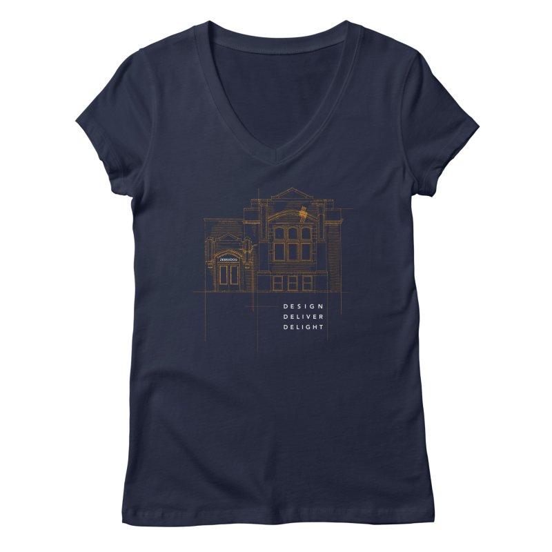 6th Ward Library Women's Regular V-Neck by Zebradog Apparel & Accessories