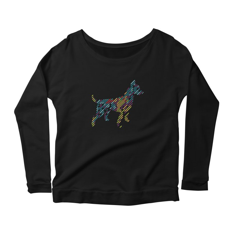 Stripe Dog Women's Scoop Neck Longsleeve T-Shirt by Zebradog Apparel & Accessories