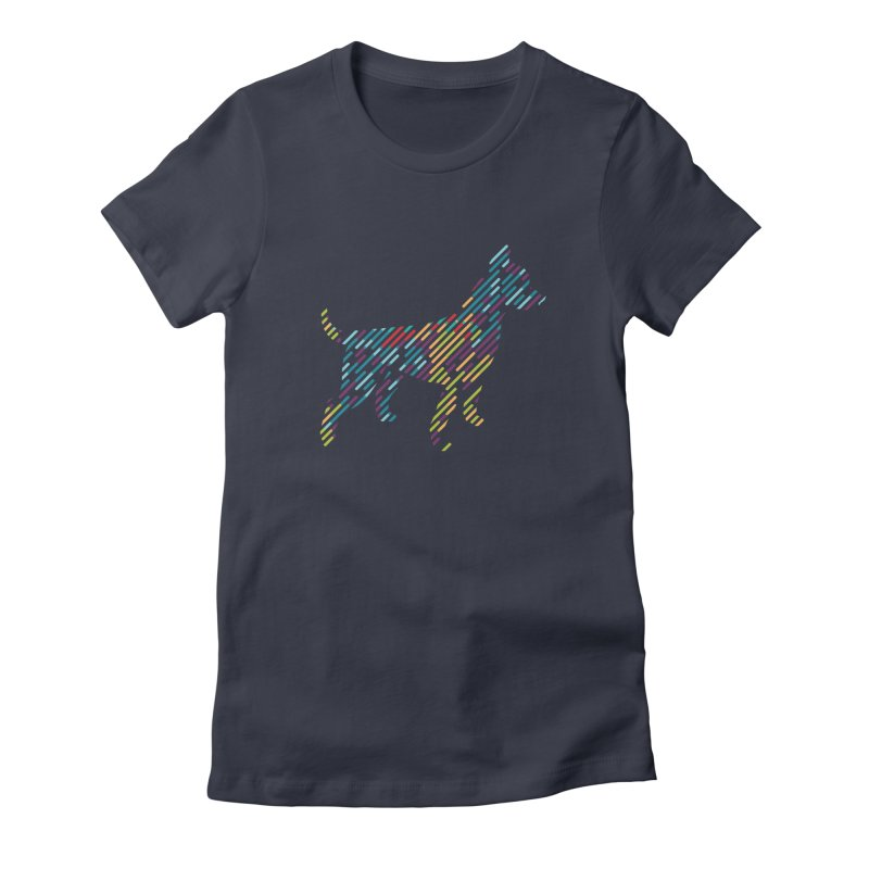 Stripe Dog Women's Fitted T-Shirt by Zebradog Apparel & Accessories