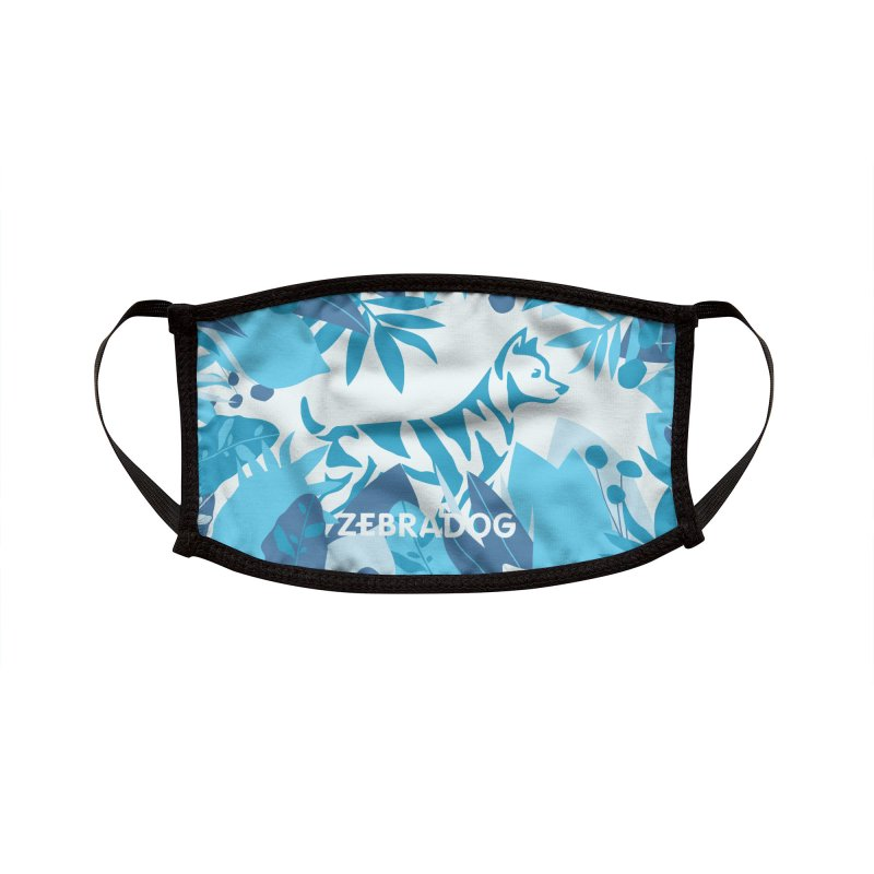 ZEBRADOG Mask (Jungle Blue & White) Accessories Face Mask by Zebradog Apparel & Accessories