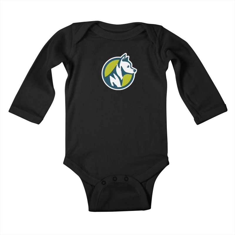 ZEBRADOG Button Icon Kids Baby Longsleeve Bodysuit by Zebradog Apparel & Accessories