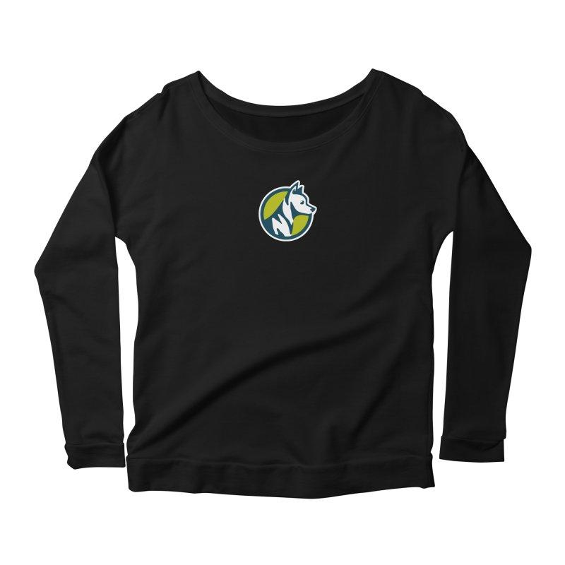 ZEBRADOG Button Icon Women's Scoop Neck Longsleeve T-Shirt by Zebradog Apparel & Accessories