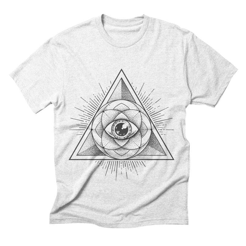 All Seeing Eye in Men's Triblend T-shirt Heather White by zellerpress