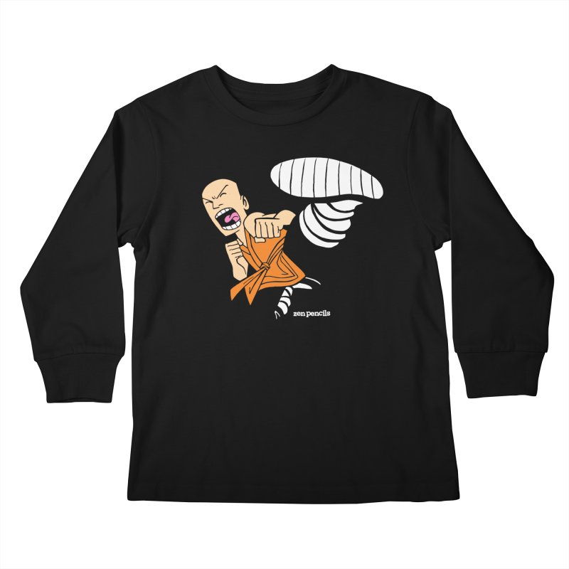 Shaolin monk Kids Longsleeve T-Shirt by ZEN PENCILS Apparel