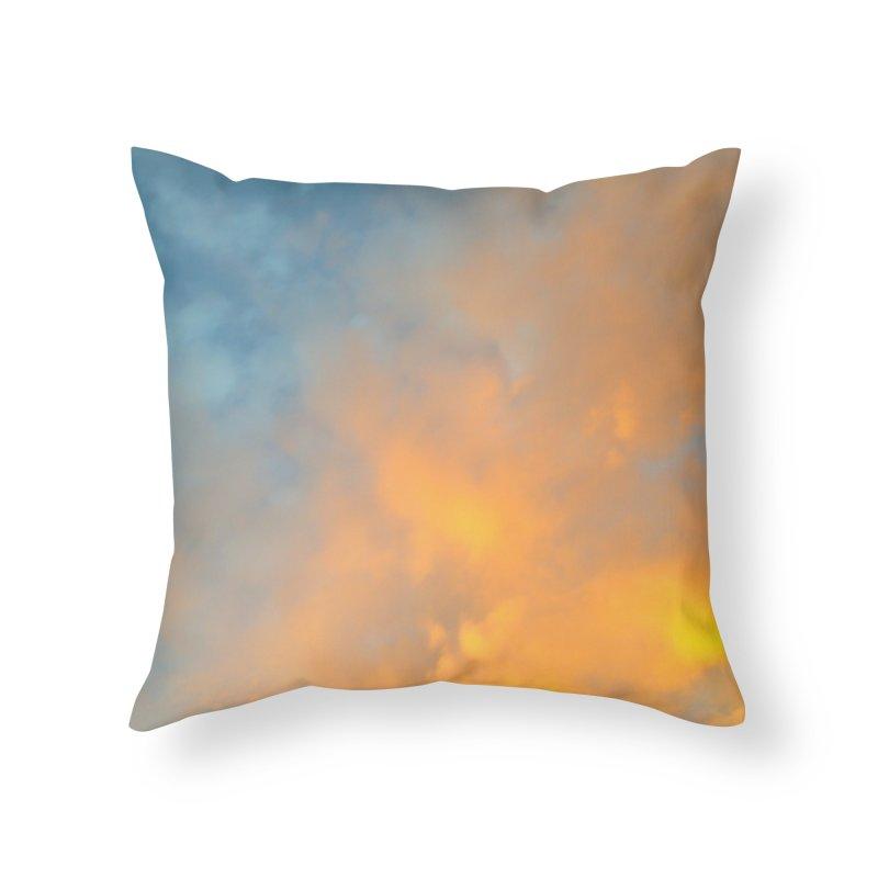 Golden Blue Sky Home Throw Pillow by 3boysenberries