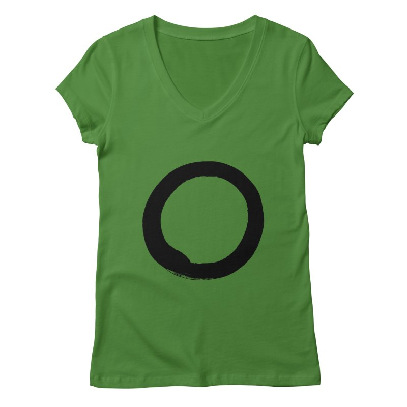 Enso Calligraphy Women's Regular V-Neck by Zenshinkan's Shop