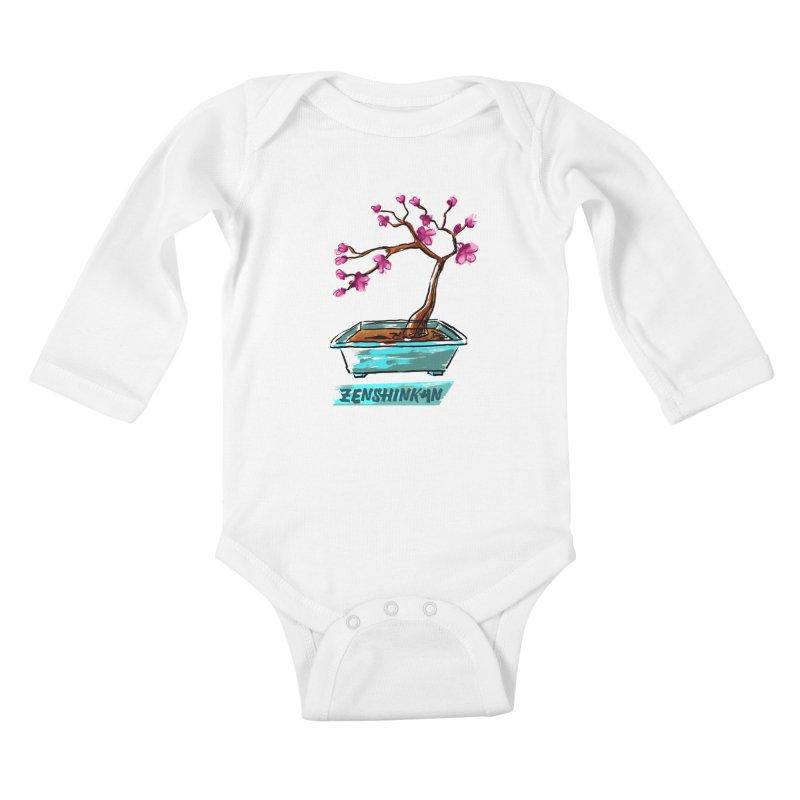 Japanese Flowering Tree Kids Baby Longsleeve Bodysuit by Zenshinkan's Shop