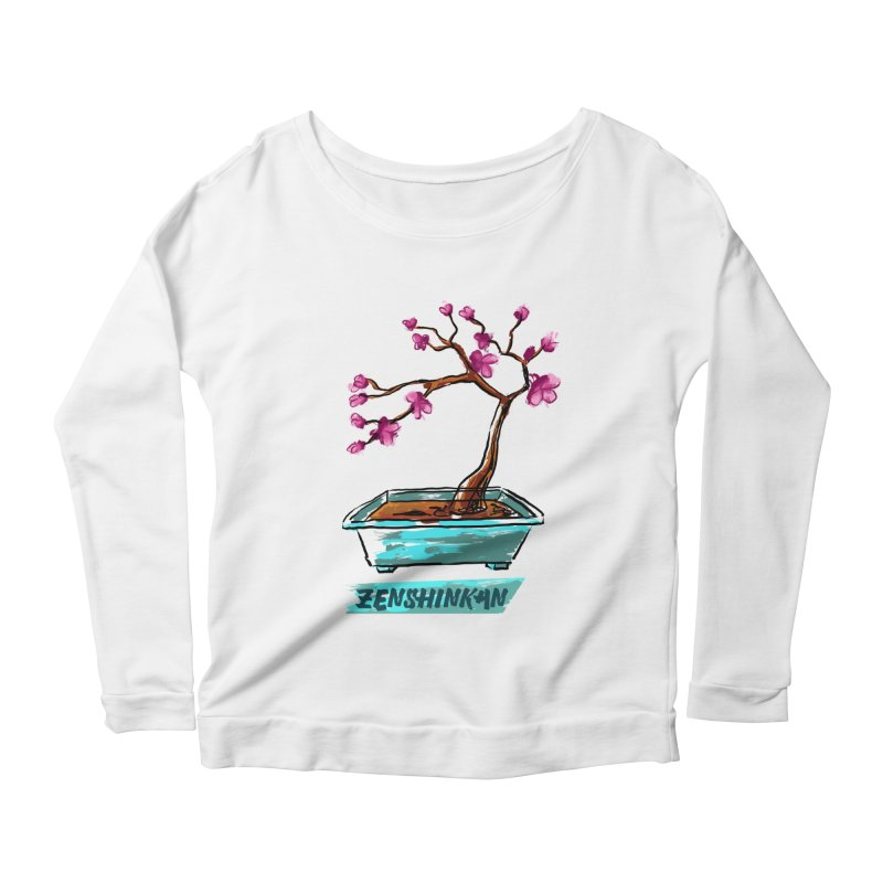 Japanese Flowering Tree Women's Longsleeve Scoopneck  by Zenshinkan's Shop