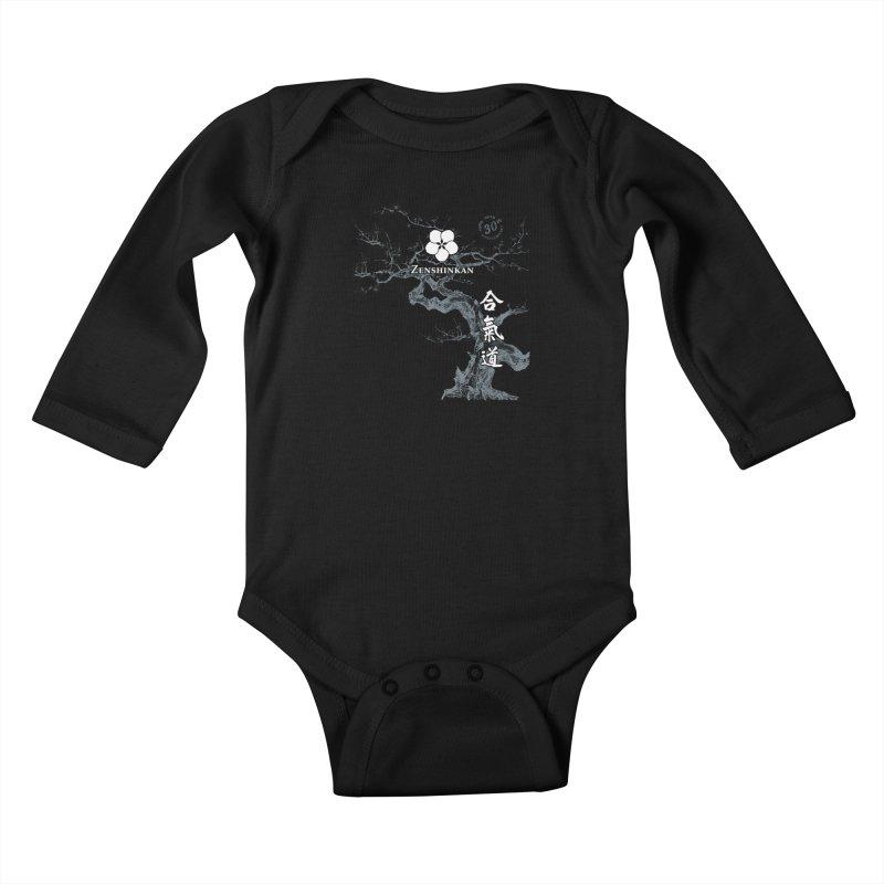 Zenshinkan's 30th Anniversary Print (dark) Kids Baby Longsleeve Bodysuit by Zenshinkan's Shop