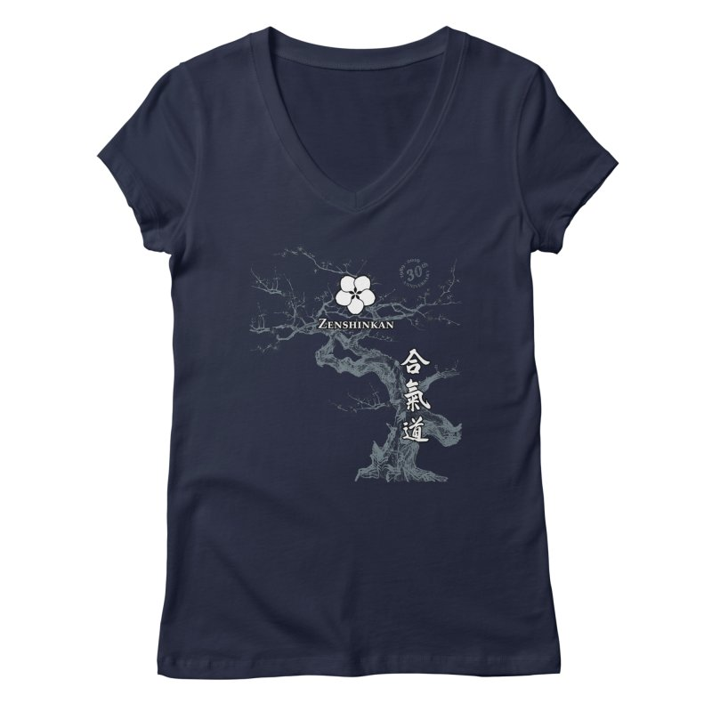Zenshinkan's 30th Anniversary Print (dark) Women's Regular V-Neck by Zenshinkan's Shop