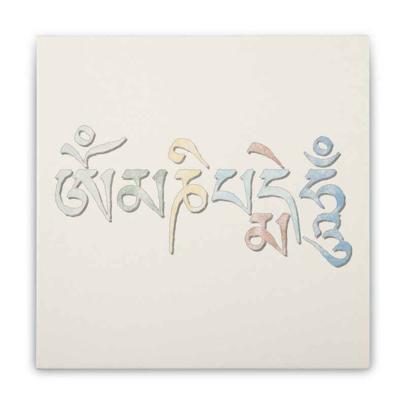 Om Mani Padme Hum–Tibetan Home Stretched Canvas by Zen the Machine