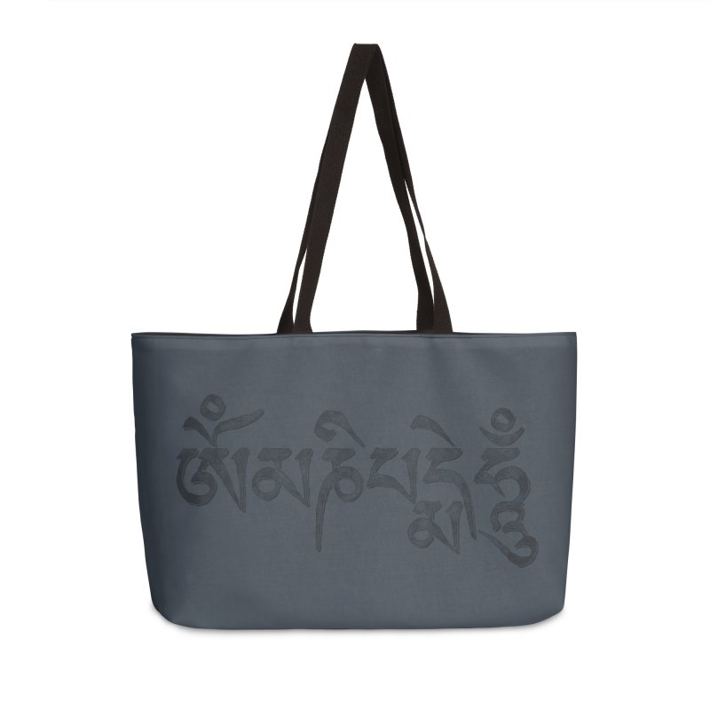 Om Mani Padme Hum–Tibetan Back in Black Edition Accessories Bag by Zen the Machine