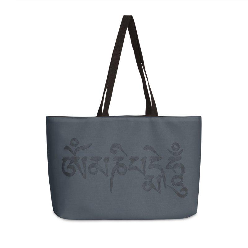 Om Mani Padme Hum–Tibetan Back in Black Edition Accessories Weekender Bag Bag by Zen the Machine