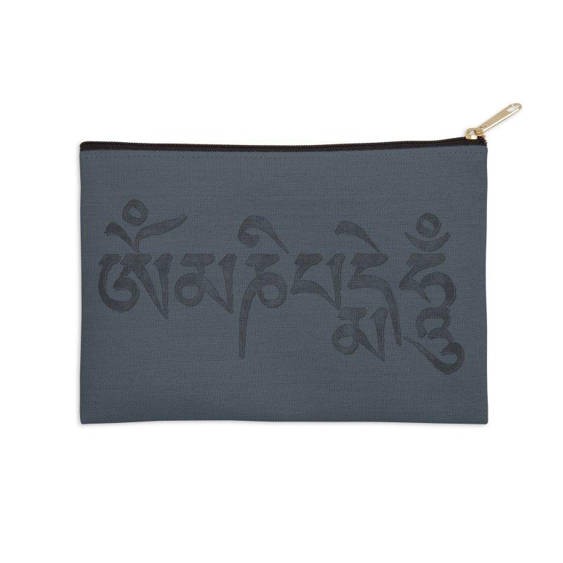 Om Mani Padme Hum–Tibetan Back in Black Edition in Zip Pouch by Zen the Machine