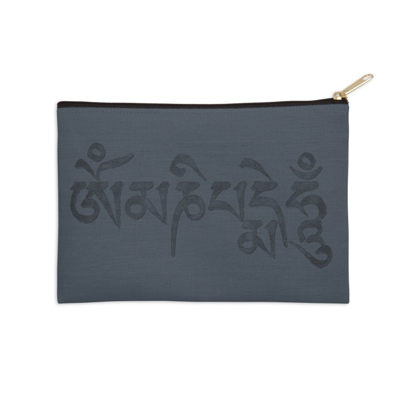 Om Mani Padme Hum–Tibetan Back in Black Edition Accessories Zip Pouch by Zen the Machine