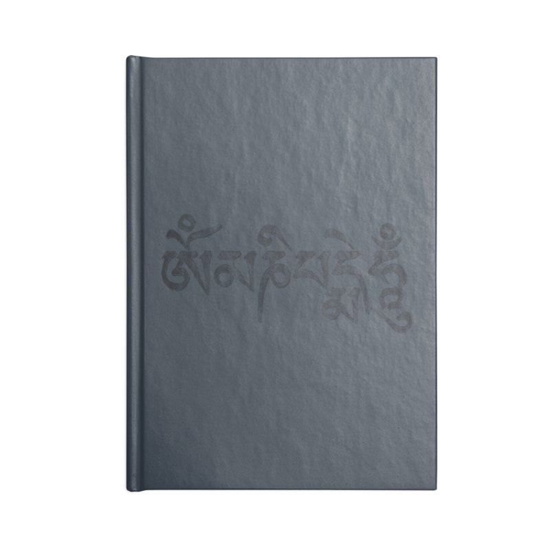 Om Mani Padme Hum–Tibetan Back in Black Edition Accessories Lined Journal Notebook by Zen the Machine