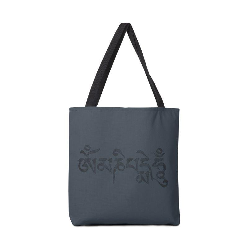Om Mani Padme Hum–Tibetan Back in Black Edition Accessories Bag by Zen the Machine