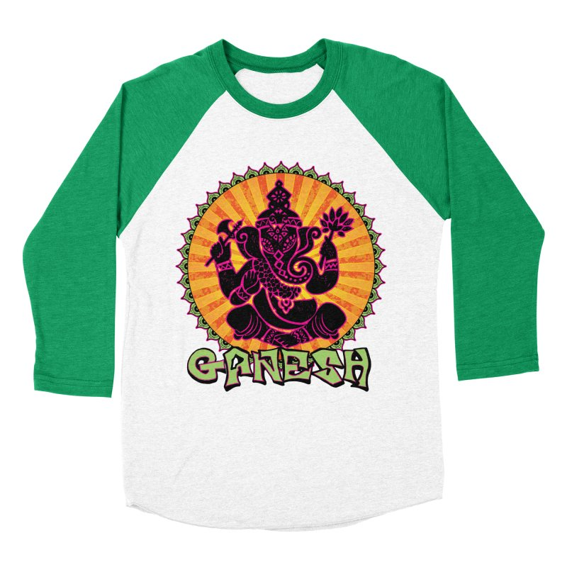 Ganesh is Fresh in Women's Baseball Triblend T-Shirt Tri-Kelly Sleeves by zenyogagarage's Artist Shop