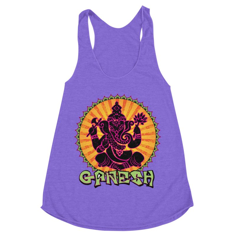 Ganesh is Fresh in Women's Racerback Triblend Tank Tri-Orchid by zenyogagarage's Artist Shop
