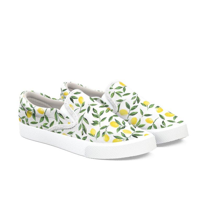 Lemons Pattern Women's Slip-On Shoes by zephyrra's Artist Shop