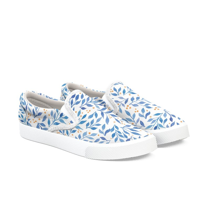 Berry Branches Pattern - Blue Palette Women's Slip-On Shoes by zephyrra's Artist Shop