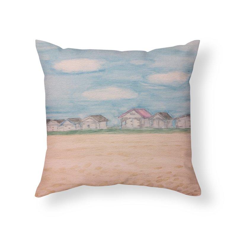 Cooden Beach Huts in Throw Pillow by Zerah