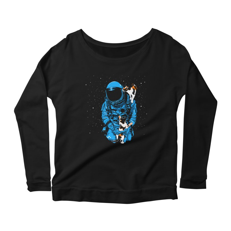 Meow More Space Women's Longsleeve Scoopneck  by zerobriant's Meow Shop