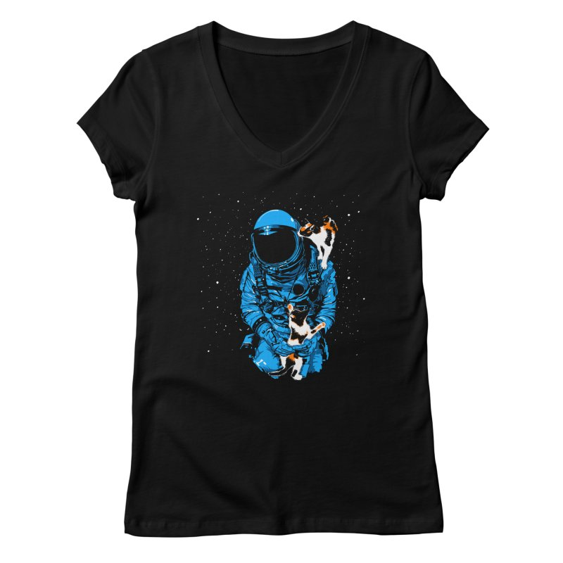 Meow More Space Women's Regular V-Neck by zerobriant's Meow Shop