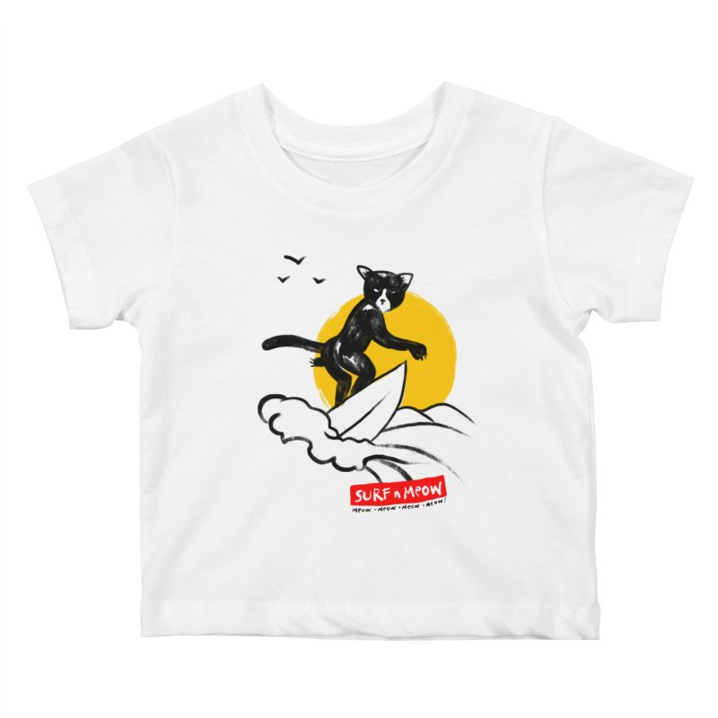 Surf n Meow Kids Baby T-Shirt by zerobriant's Meow Shop