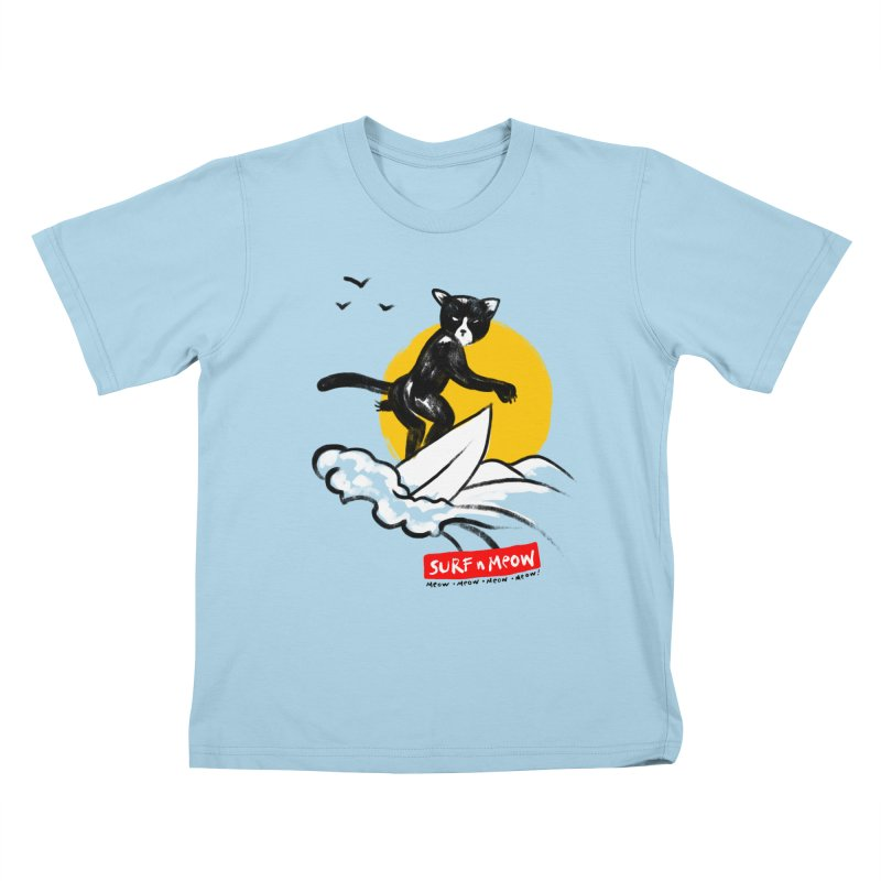 Surf n Meow Kids T-Shirt by zerobriant's Meow Shop
