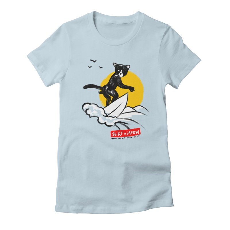 Surf n Meow Women's Fitted T-Shirt by zerobriant's Meow Shop