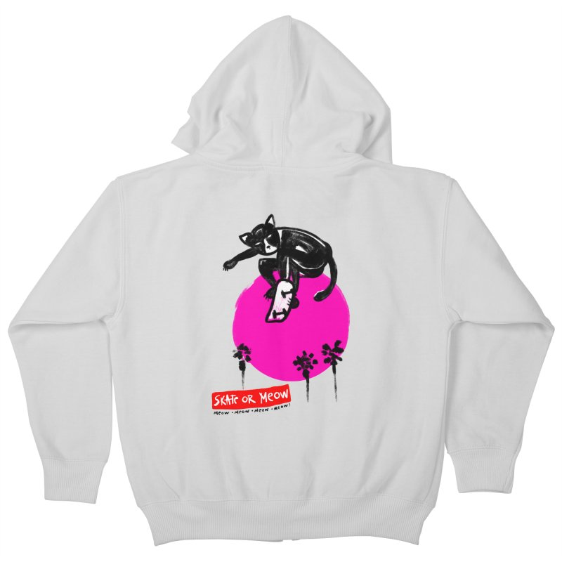 Skate or Meow Kids Zip-Up Hoody by zerobriant's Meow Shop