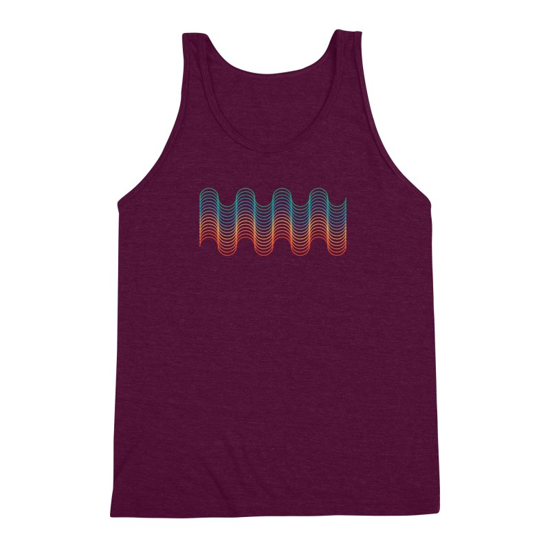 Gradient Wave Men's Triblend Tank by zeroing 's Artist Shop