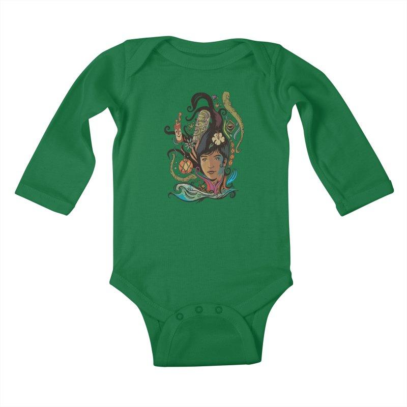 Wahine #4 Kids Baby Longsleeve Bodysuit by Zerostreet's Artist Shop
