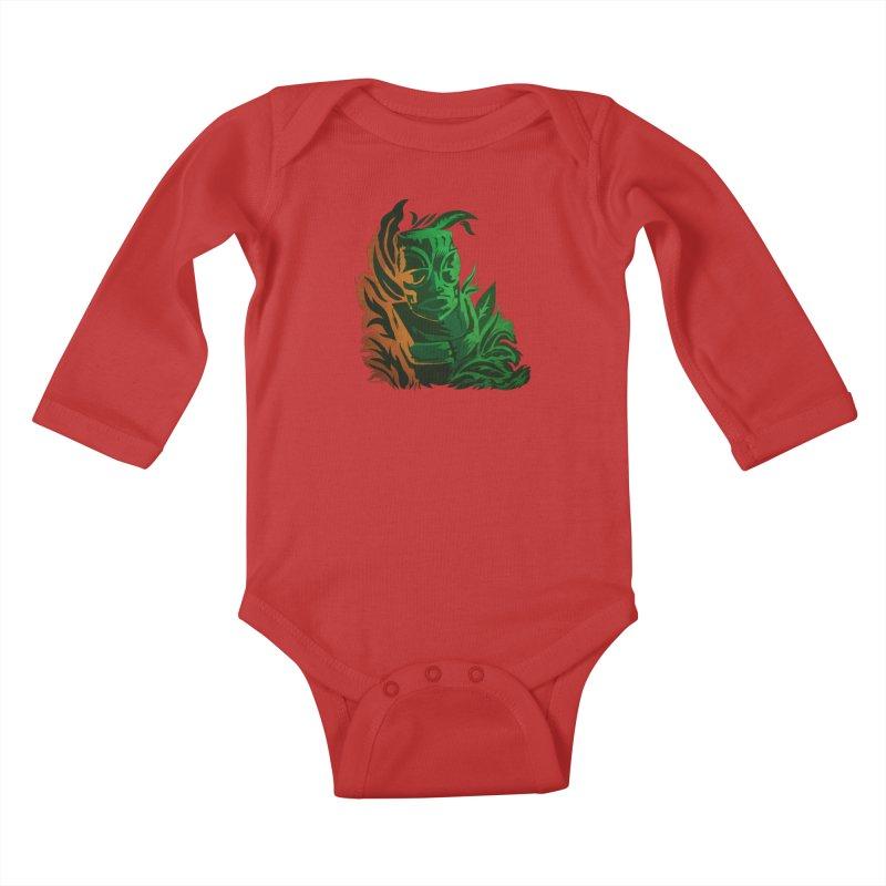 Tiki Moon Kids Baby Longsleeve Bodysuit by Zerostreet's Artist Shop