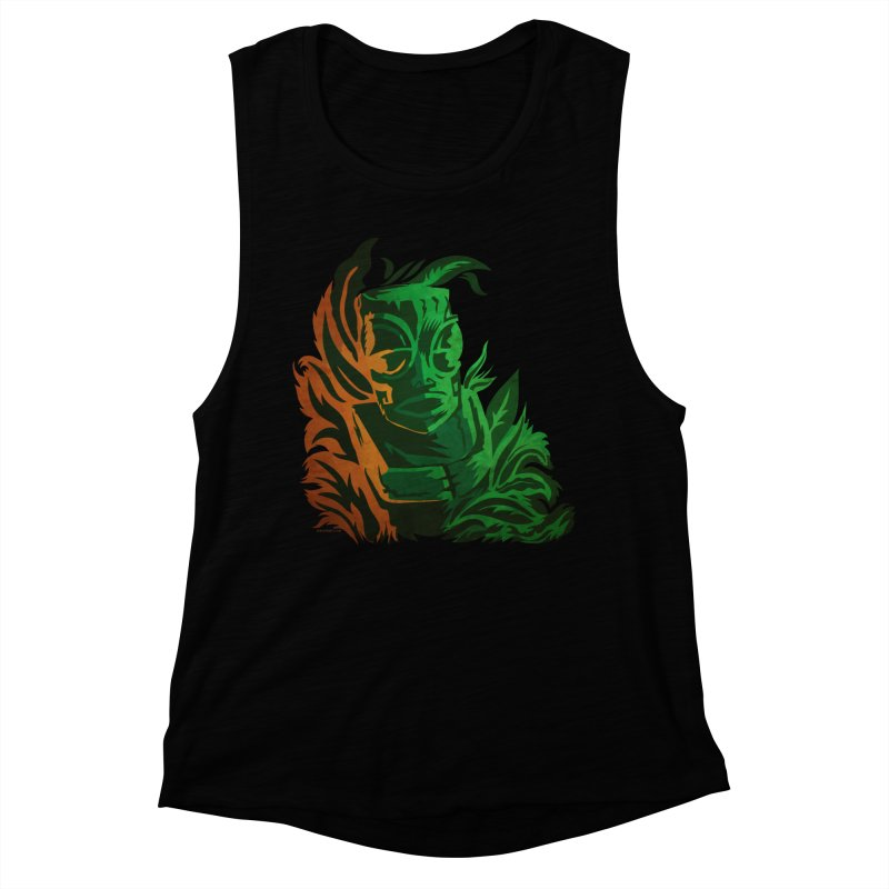 Tiki Moon Women's Muscle Tank by Zerostreet's Artist Shop