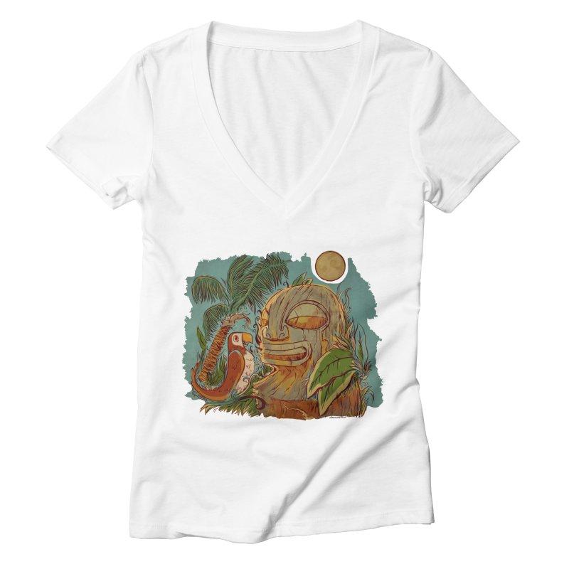 Island Chatter Women's Deep V-Neck V-Neck by Zerostreet's Artist Shop