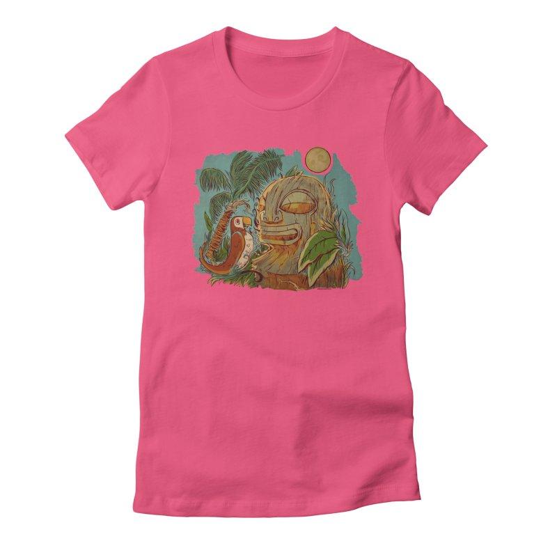 Island Chatter Women's Fitted T-Shirt by Zerostreet's Artist Shop