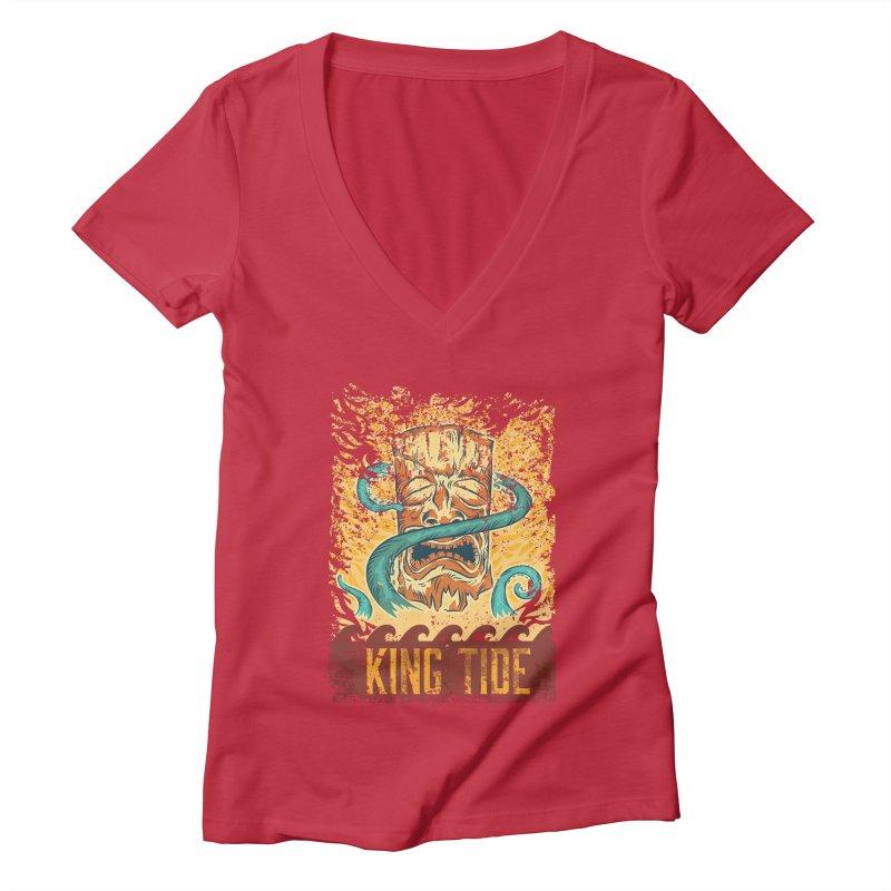 King Tide Women's Deep V-Neck V-Neck by Zerostreet's Artist Shop