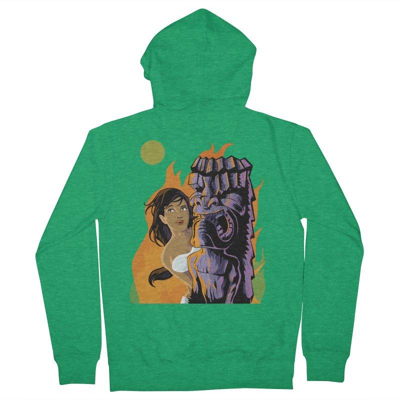 Wahine, Moon And Fire Women's Zip-Up Hoody by Zerostreet's Artist Shop