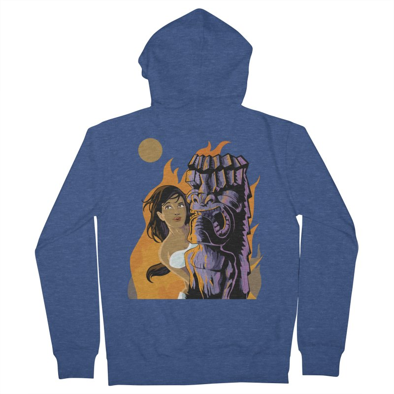 Wahine, Moon And Fire Women's Zip-Up Hoody by Zerostreet's Artist Shop
