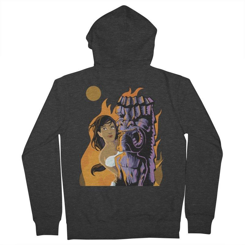 Wahine, Moon And Fire Men's Zip-Up Hoody by Zerostreet's Artist Shop