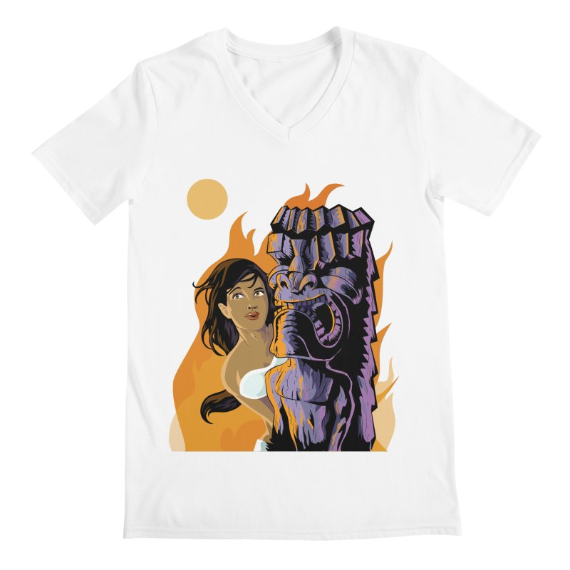 Wahine, Moon And Fire Men's V-Neck by Zerostreet's Artist Shop