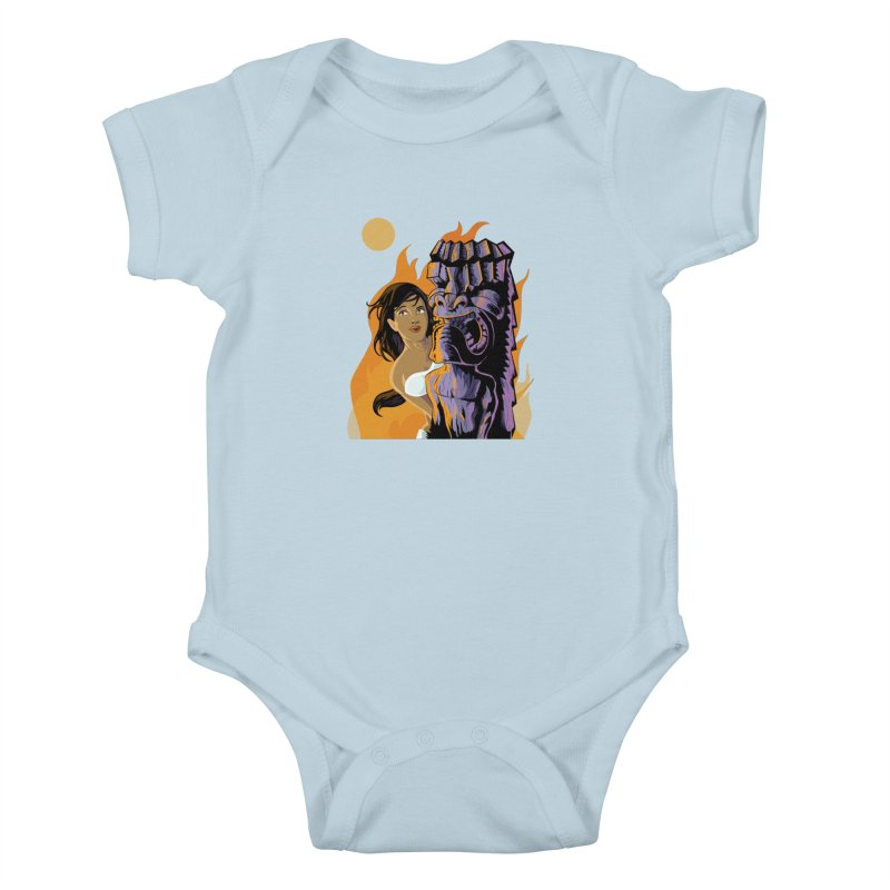 Wahine, Moon And Fire Kids Baby Bodysuit by Zerostreet's Artist Shop