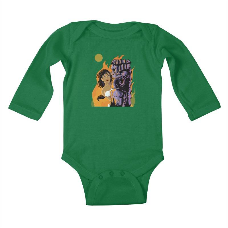 Wahine, Moon And Fire Kids Baby Longsleeve Bodysuit by Zerostreet's Artist Shop