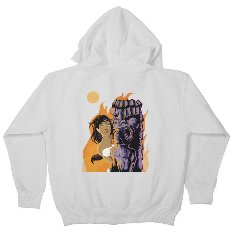Wahine, Moon And Fire Kids Zip-Up Hoody by Zerostreet's Artist Shop