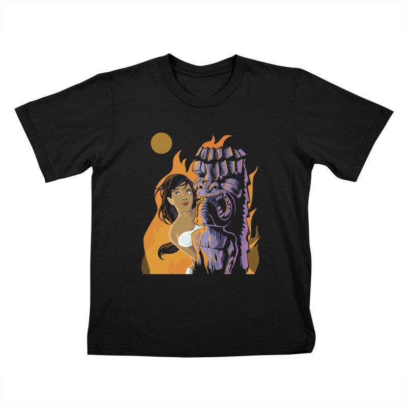 Wahine, Moon And Fire Kids T-Shirt by Zerostreet's Artist Shop