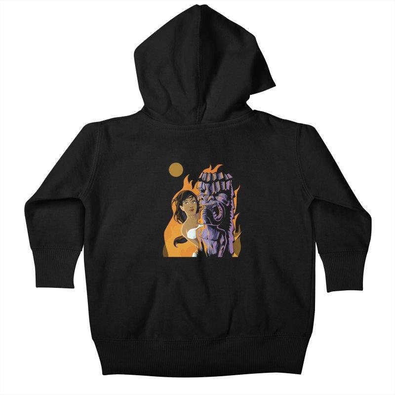 Wahine, Moon And Fire Kids Baby Zip-Up Hoody by Zerostreet's Artist Shop
